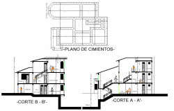 Foundation plan and section Terraced houses layout file