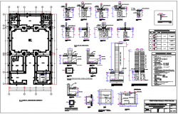 Foundation plan and section center line plan detail dwg file
