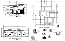 Foundation plan and section house plan autocad file
