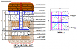 Foundation plan and section working plan detail dwg file,