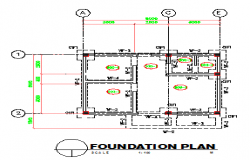 Foundation plan design drawing of small hospital design drawing