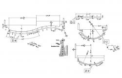Foundation plan details of five flooring house dwg file