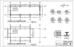 Foundation plan of both floors of house dwg file