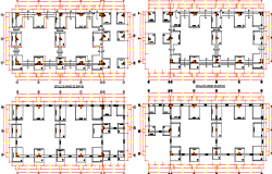 Foundation plan of college with beam and column assembly dwg file
