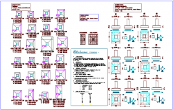 Foundation plan of column with construction detail of hospital dwg file