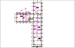 Foundation plan of consulting area for integral community center dwg file