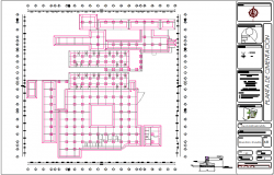 Foundation plan of hospital with detail view for hospital dwg file