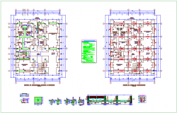 Foundation plan of municipality with construction detail dwg file