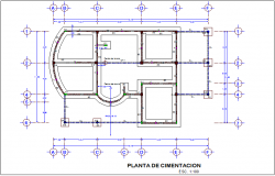 Foundation plan of office dwg file