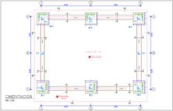 Foundation plan of school classroom dwg file