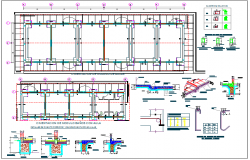 Foundation plan of school classroom with foundation of column dwg file