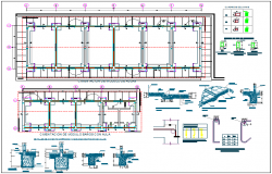 Foundation plan of school classroom with view of construction detail dwg file