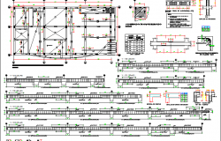 Foundation plan with column and beam construction of house dwg file