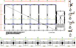 Foundation plan with column and beam of school dwg file