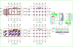 Foundation plan with column and roof plan and elevation dwg file