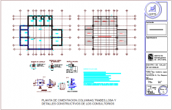 Foundation plan with column detail with construction view for clinic dwg file