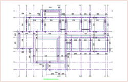 Foundation plan with column detail with construction view for house dwg file