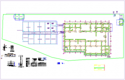 Foundation plan with column detail with construction view for leather plant dwg file