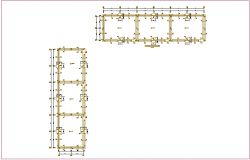Foundation plan with column detail with construction view for school dwg file