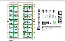 Foundation plan with construction detail of column and wall foundation for hospital dwg file