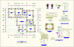 Foundation plan with construction detail of education center dwg file
