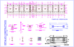 Foundation plan with construction detail of school dwg file