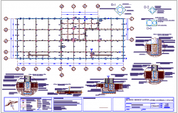 Foundation plan with construction detail of shopping center and office dwg file