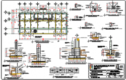Foundation plan with construction of admin government office dwg file