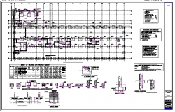 Foundation plan with construction of office building dwg file