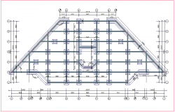 Foundation plan with construction view for industrial building dwg file