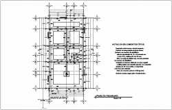 Foundation plan with construction view for residential area dwg file
