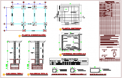 Foundation plan with detail of column foundation for communication office dwg file