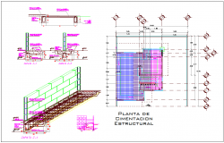 Foundation plan with wall detail with construction view dwg file