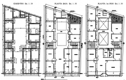 Foundation plans to second-floor plan detail dwg file