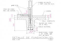 Foundation section plan detail layout file