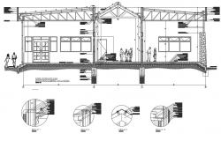Foundation to Roof section and plan working plan detail dwg file