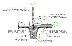 Foundation with concrete shoe DWG file