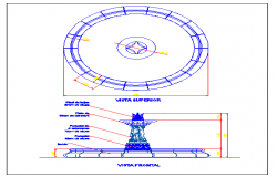 Fountain front elevation and section details dwg file
