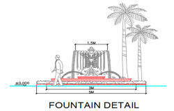 Fountain front elevation detail dwg file