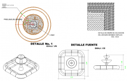 Fountain plan and elevation detail autocad file