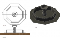 Fountain plan dwg and elevation detail dwg file