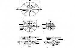Fountain plan and section detail dwg file