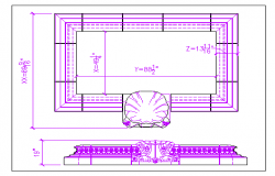 Fountain project with tiles and shells design dwg file