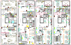 Four Flooring Medical Center Architecture Layout Plan dwg file