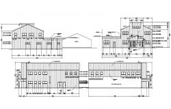 Four Side Elevation Of Factory With Working Dimension AutoCAD File