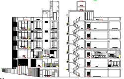 Four Star Hotel Architecture Design Section, Elevation Details dwg file