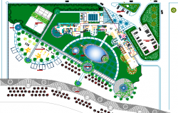 Four flooring hotel landscaping and site plan dwg file