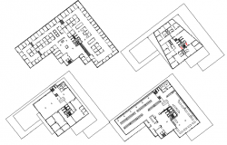 Four floors layout plan details of commercial building dwg file