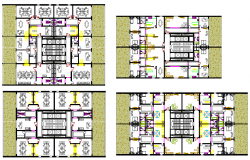 Four floors layout plan details of tour-ecologic center dwg file