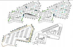 Four story commercial complex floor plan details dwg file